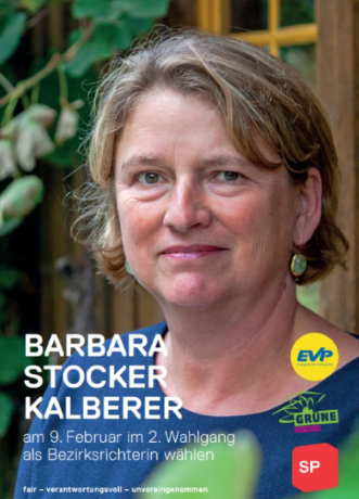 Barbara Stocker Kalberer auch für den 2. Wahlgang als Bezirksrichterin nominiert